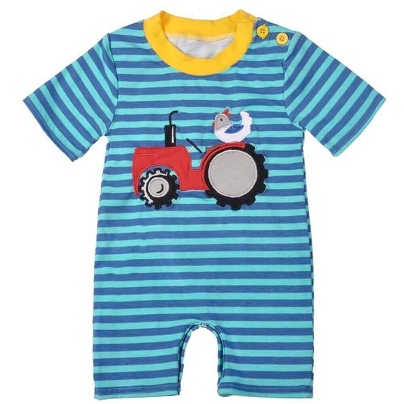 844414f614b NEW Baby Boy Tractor Shorts Romper